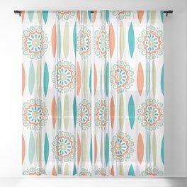 Mid Century Modern Mandala and Leaf Nature Print Sheer Curtain