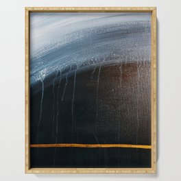 Horizon [2]: a pretty minimal abstract painting in blue and gold by Alyssa Hamilton Art Serving Tray