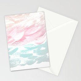 Ocean Abstract, Pastel & Gray Stationery Cards