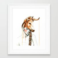 "taurus Framed Art Prints featuring ""Taurus"" by Mia Desu"