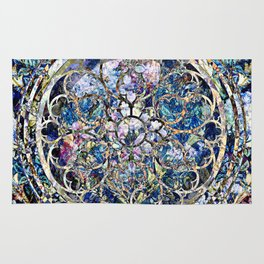 Stain Glass Rose Window Pattern Rug