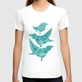 Handmade Block Print of Turquoise Birds T-shirt