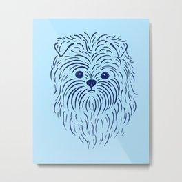 Affenpinscher (Blue) Metal Print
