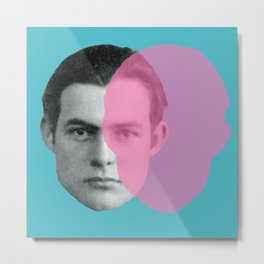 Hemingway - portrait pink and blue Metal Print