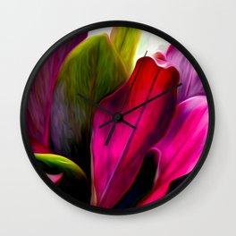Ti Leaf Bouquet Wall Clock