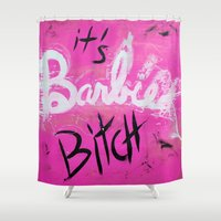 nicki Shower Curtains featuring IT'S BARBIE BITCH by Jennifer Pennacchio