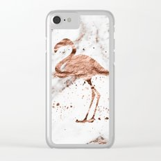 Rose gold marble - flamingo Clear iPhone Case