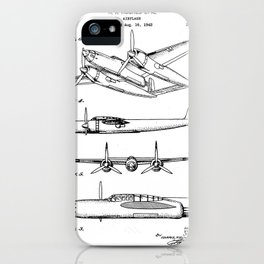 Hughes Lockheed Airplane Patent - Hughes Aviation Art - Black And White iPhone Case