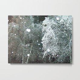 Winter snow in the evening snow city Metal Print