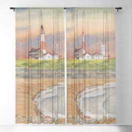 Montauk Point Lighthouse East Hampton New York Sheer Curtain