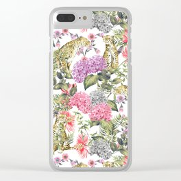 Leopards in flowery garden Clear iPhone Case