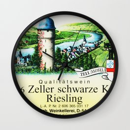 Vintage Zeller Schwarze Katz Riesling Black Cat Wine Bottle Mosel Label Print Wall Clock
