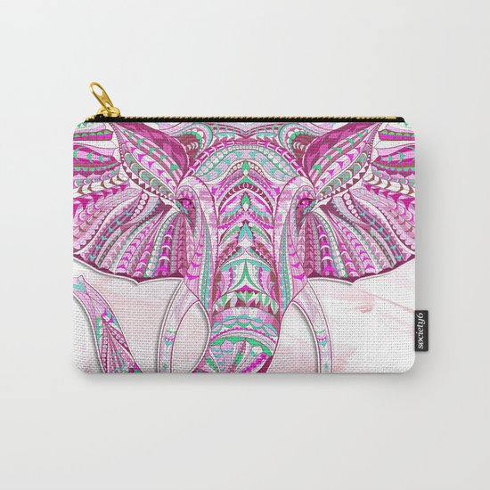 Pink Ethnic Elephant Carry-All Pouch