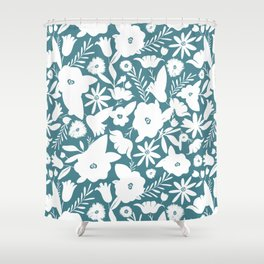 Finley Floral Teal Shower Curtain
