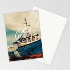 Blue Brown Vintage Nautical Anchor Sailing Boat Stationery Cards