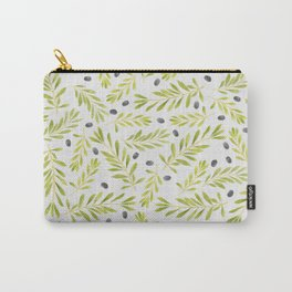 Watercolor Olive Branches Pattern Carry-All Pouch