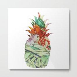 Pineapple fabric Metal Print