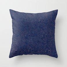 Vintage Floral Blue Plants Throw Pillow