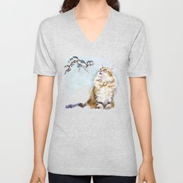 Cute Cat on the Lurk Watercolor Painting Unisex V-Neck