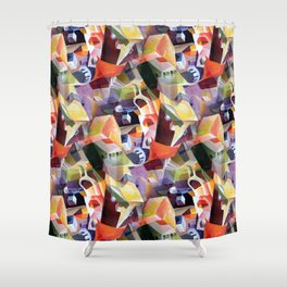 Contemporary Abstract in Modern Geometric Cubism Style Shower Curtain