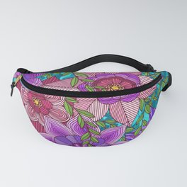 Colorful Zentangle Flowers Fanny Pack