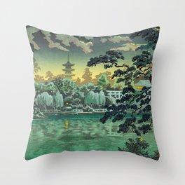 Tsuchiya Koitsu - Ueno Shinobazu Pond - Japanese Vintage Woodblock Painting Throw Pillow