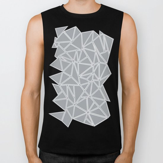 Shattered Ab Grey and White  Biker Tank