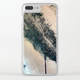 Honey 2: a pretty, minimal abstract mixed-media piece in blue, gold, and pink Clear iPhone Case