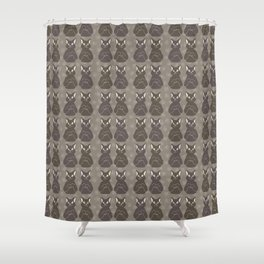 Brown and Gray Cute Stretching Cats Vector Pattern Shower Curtain
