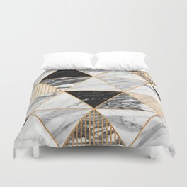 Marble Triangles 2 - Black and White Duvet Cover