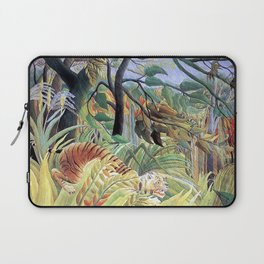 Tiger in a Tropical Storm (Surprised!) by Henri Rousseau 1891 // Jungle Rain Stormy Weather Scene Laptop Sleeve