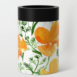 Watercolor California poppies Can Cooler