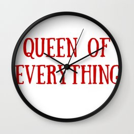 Queen of Everything in Red Wall Clock