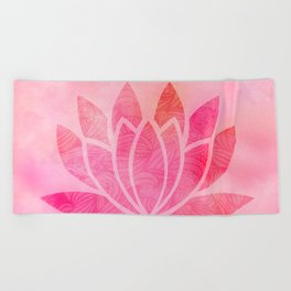 Zen Watercolor Lotus Flower Yoga Symbol Beach Towel