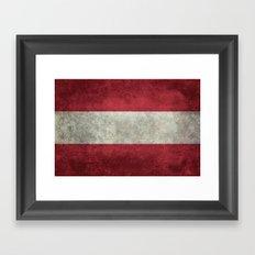 Flag of Austria - worn vintage style Framed Art Print