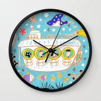 submarine Wall Clocks featuring submarine by AW illustrations