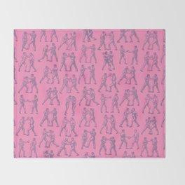 Round One BUBBLEGUM PINK / Vintage boxers Throw Blanket
