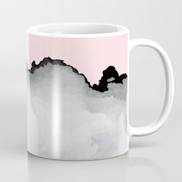 Blush Pink Gray and Black Graphic Cloud Effect Coffee Mug