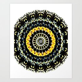 Mandala - Black and Yellow Art Print