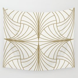 Diamond Series Inter Wave Gold on White Wall Tapestry