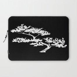 Bonzai Tree Reversed on Black Background Laptop Sleeve