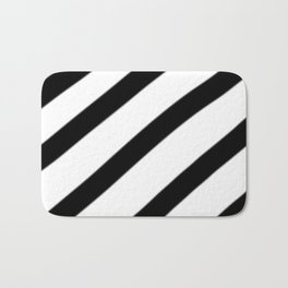 Soft Diagonal Black and White Stripes Bath Mat