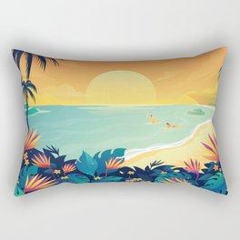 Sunset Beach Illustration Rectangular Pillow