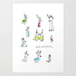 birds with dishes Art Print