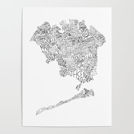 Queens - Hand Lettered Map Poster