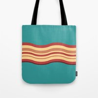 bacon Tote Bags featuring Bacon by Jiro Tamase