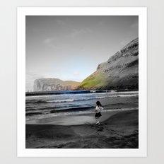 Girl & ocean Art Print