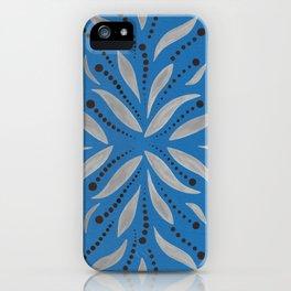 Blue Bell – Scandinavian folk art - silver leafs on blu iPhone Case