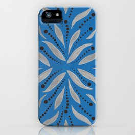 Silver Leafs – Bluebell – Scandinavian Folk Art iPhone Case