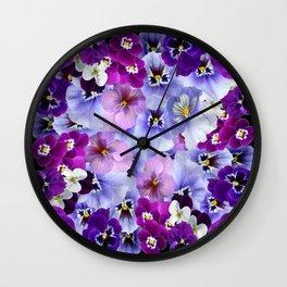 PURPLE-WHITE-PINK PANSY FLOWERS & BLACK Art Wall Clock